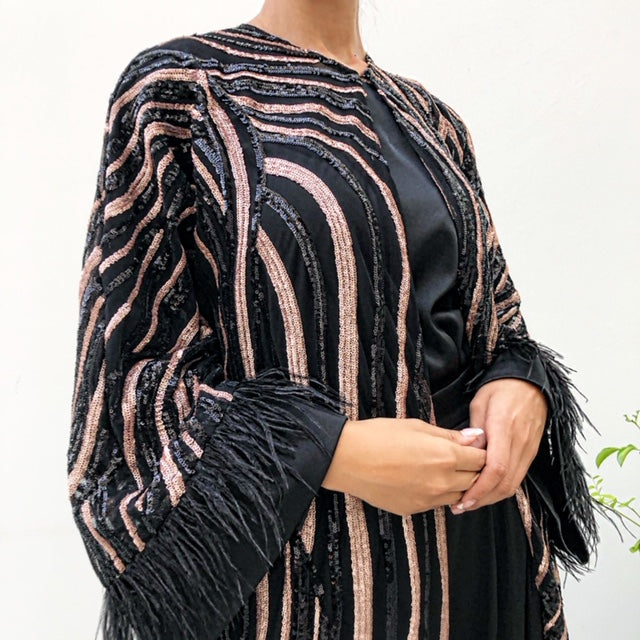 AW19 MARIAM TULLE WITH SEQUINS IN ROSE GOLD & BLACK EVENING ABAYA