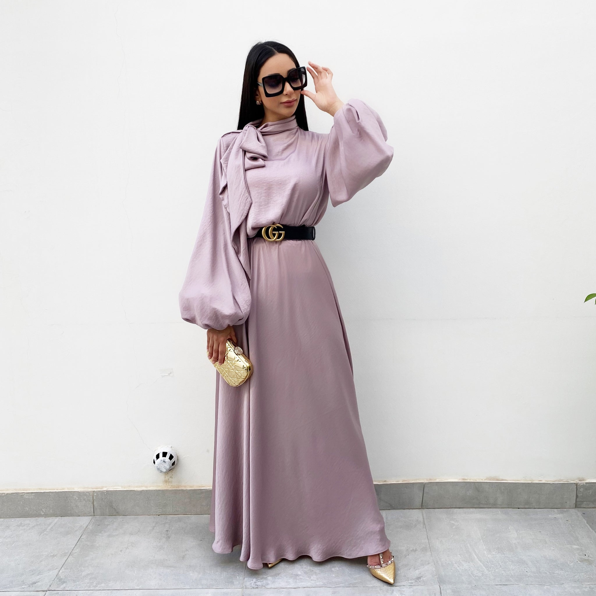 RAM20 MAUVE BALLOON SLEEVE BELTED MAXI DRESS