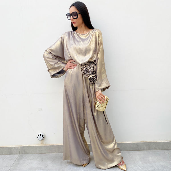 RAM20 GREY MATT GOLD SHIMMER JUMPSUIT WITH ROSES