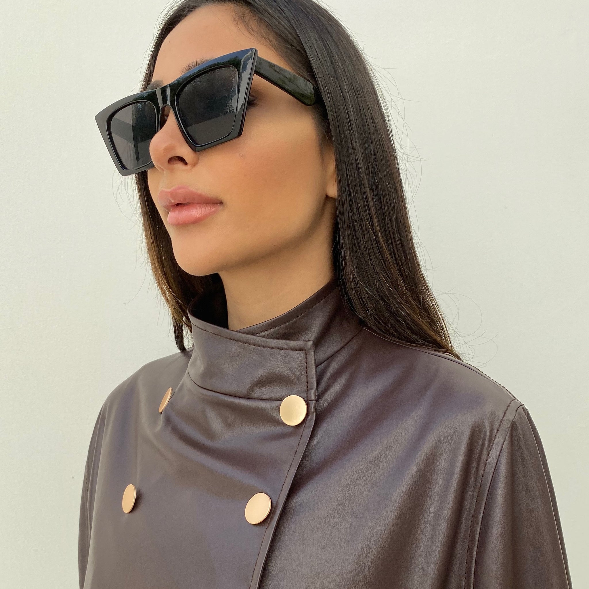 AW19 COFFEE FAUX LEATHER GRADUATED SHORT CAPE
