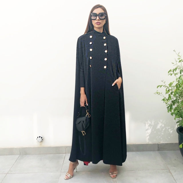 AW19 DOUBLE BREASTED GRADUATED BLACK CAPE