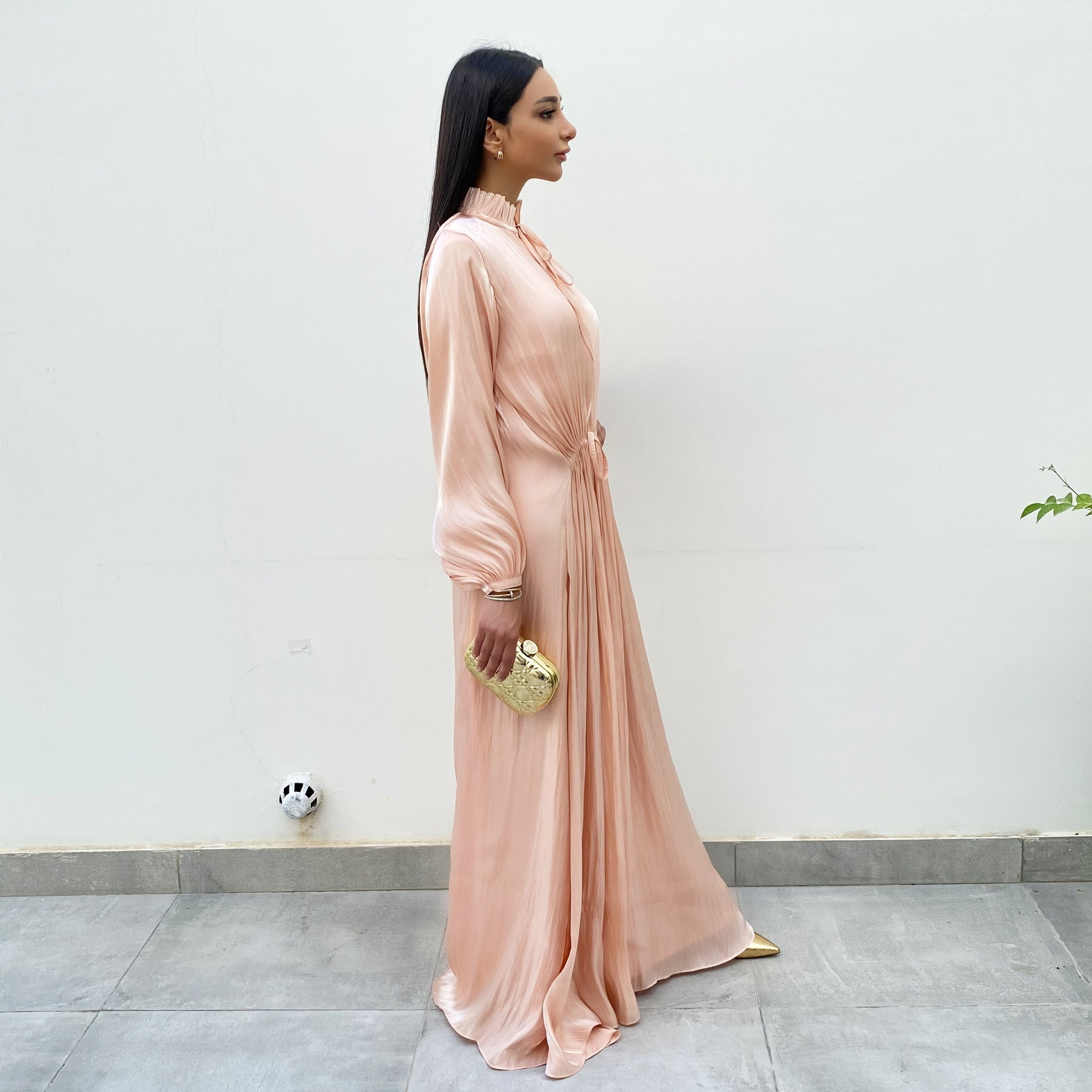 RAM 20 CRUSHED SILK CORAL MAXI DRESS