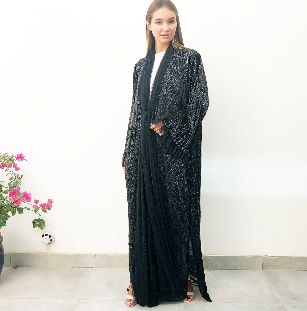 AW18 BLACK SEQUINS EVENING ABAYA WITH TULLE DETAILING
