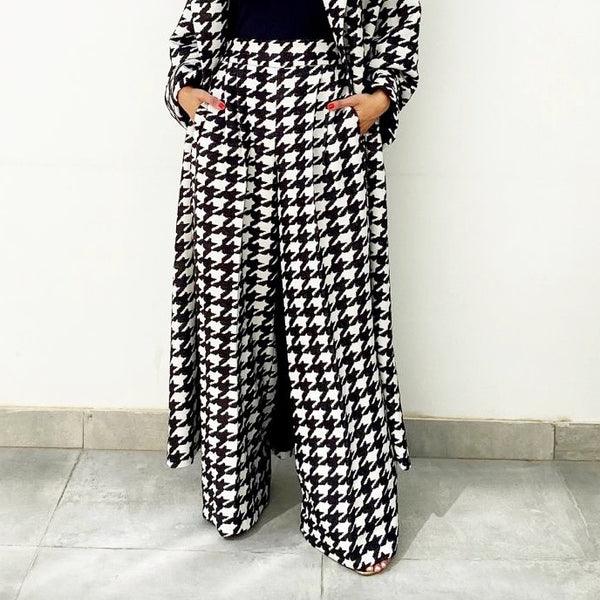 AW19 ELEGANT  WIDE LEG  HOUNDSTOOTH TROUSERS