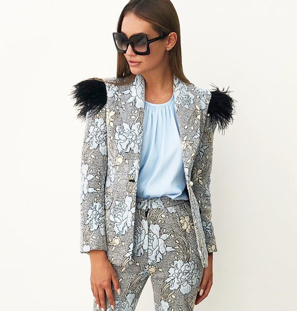 AW18 BROCADE BABY BLUSE BLAZER WITH OSTRICH FEATHERS