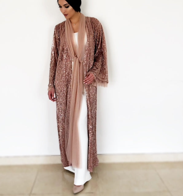 AW18 COPPER SEQUINS EVENING ABAYA WITH TULLE DETAILING