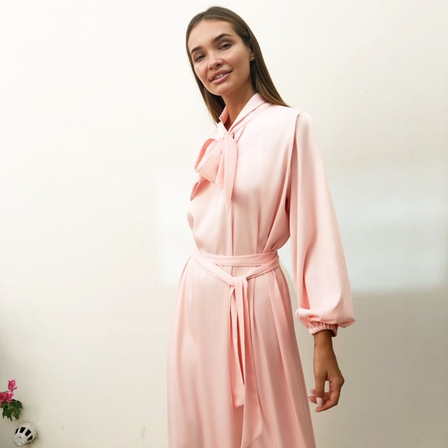 AW18 PINK SILK SATIN BOW DRESS WITH GATHERED FULL LENGTH SLEEVES