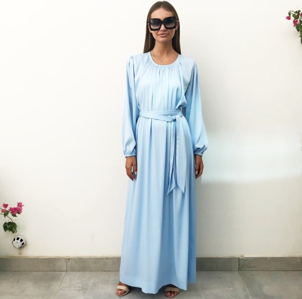 AW18 BABY BLUE  SILK SATIN DRESS WITH GATHERED SLEEVES
