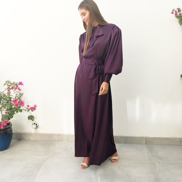 AW18 AUBERGINE SILK SATIN BOW DRESS WITH GATHERED FULL LENGTH SLEEVES