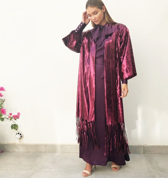 AW18 MAROON SEQUINS KIMONO WITH SEQUINS TASSLES