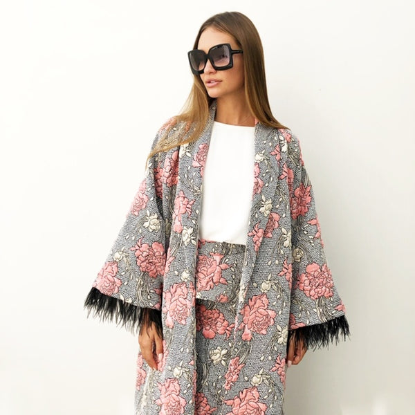AW18 BROCADE ABAYA DUSTER WITH OSTRICH FEATHERS