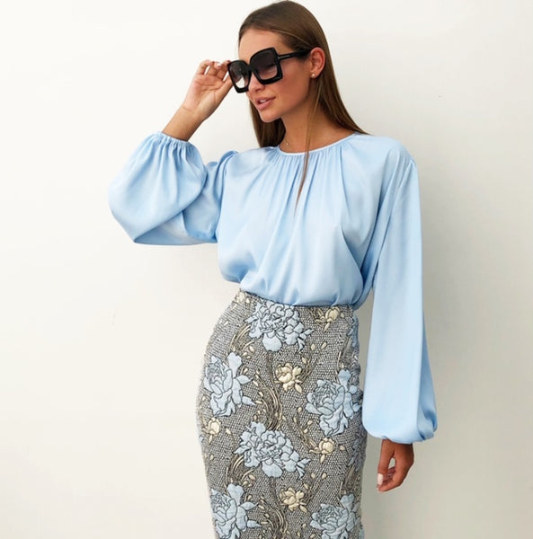 AW18 BABY BLUE SATIN FULL SLEEVE BLOUSE
