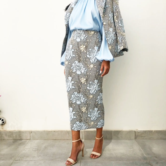 AW18 BROCADE BABY BLUE & GOLD PENCIL SKIRT