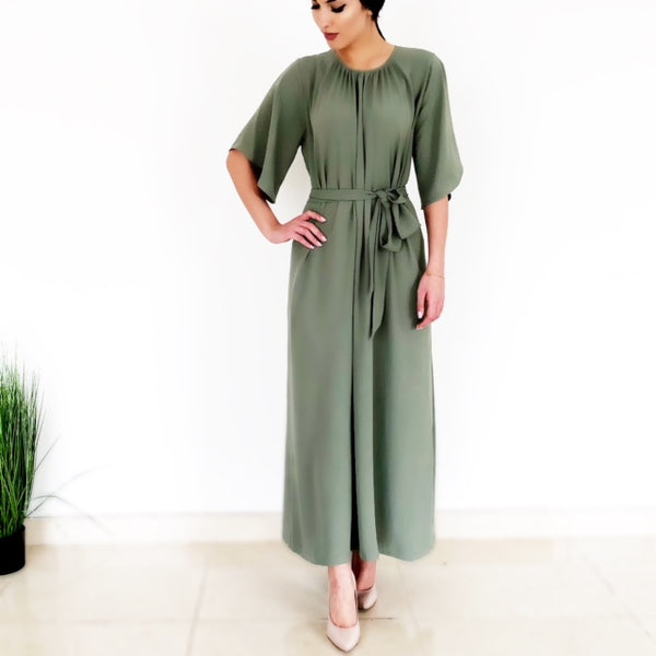 AW18 MOSS GREEN SHORT SLEEVE DRESS