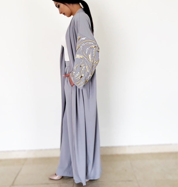 "AW18 STUNNING GREY ""LEAVES OF GOLD"" ABAYA"