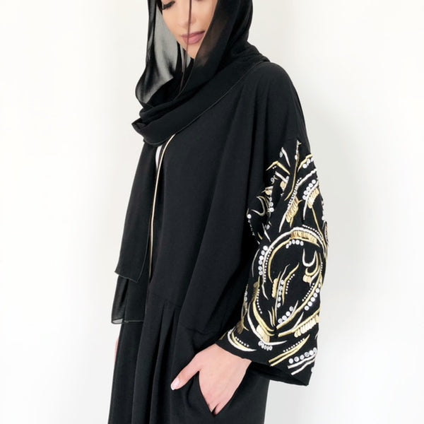 "AW18 STUNNING BLACK ""LEAVES OF GOLD"" ABAYA"