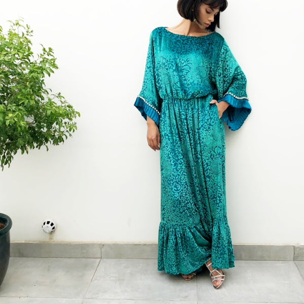 BOHO SEA GREEN VELVETEEN LINED BOHO JUMPSUIT