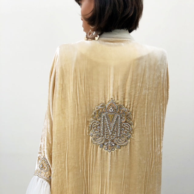 RAMADAN18 VANILLA SILK VELVET LUXURY ABAYA WITH HAND EMBROIDERED INITIALS