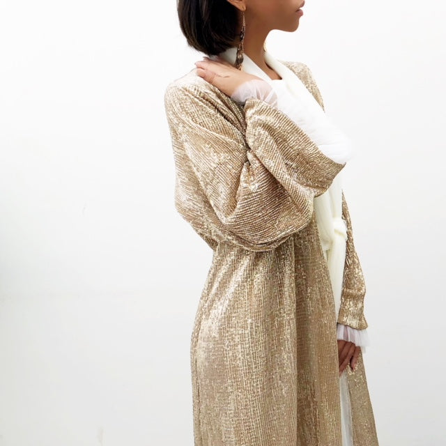 RAMADAN 18 GOLD SEQUINS TULLE ABAYA WITH TULLE DETAILING