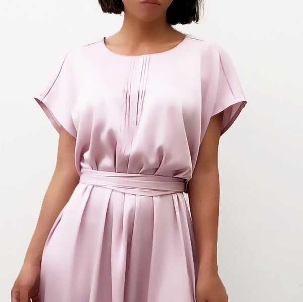 PINK MATT SATIN TUNIC DRESS WITH PIN TUCK DETAILS
