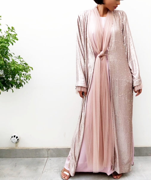 SS18  PINK SEQUINS EVENING  ABAYA WITH GATHERED TULLE