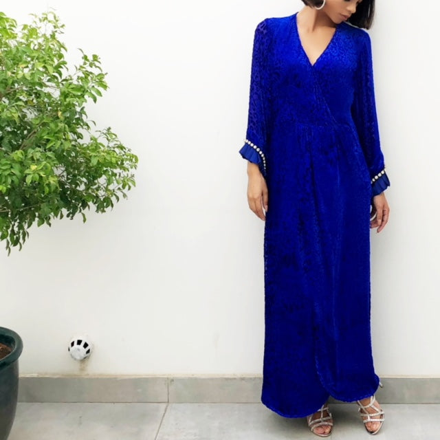 COBOLT BLUE BOHO WRAP DRESS IN SILK VELVETEEN
