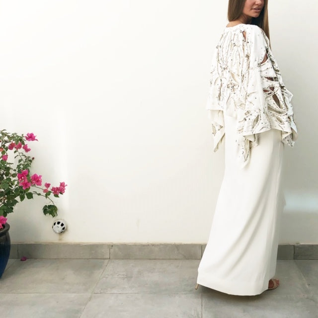 "AW18 ""MALIKA"" OFF-WHITE EVENING CAFTAN DRESS WITH CUTWORK & SEQUINS"