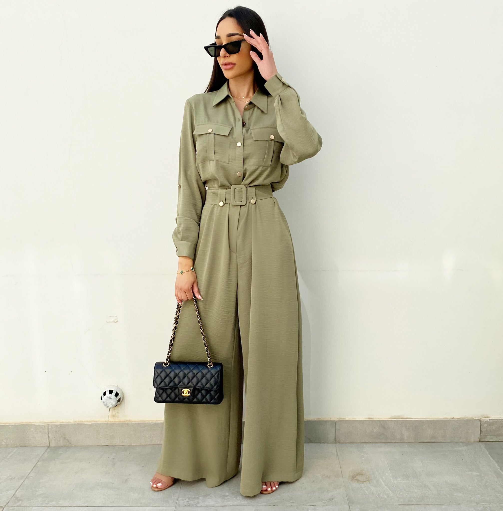 AW20 MOSS GREEN UTILITY  JUMPSUIT