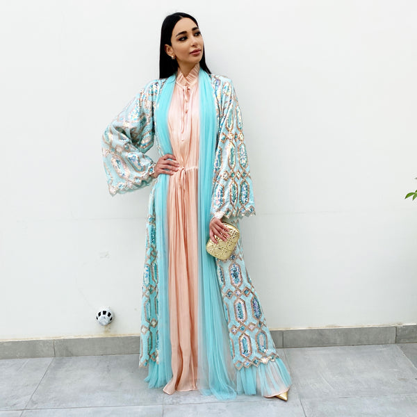 RAM20 SKY BLUE ROSE GOLD SEQUINS ABAYA WITH TULLE DETAILING