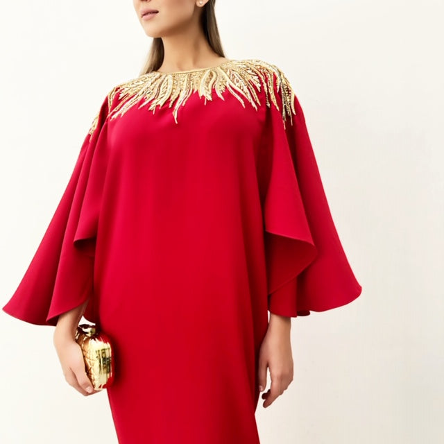 RAM19 SHAMSA RED CREPE DRESS WITH GOLD EMBELLISHMENT