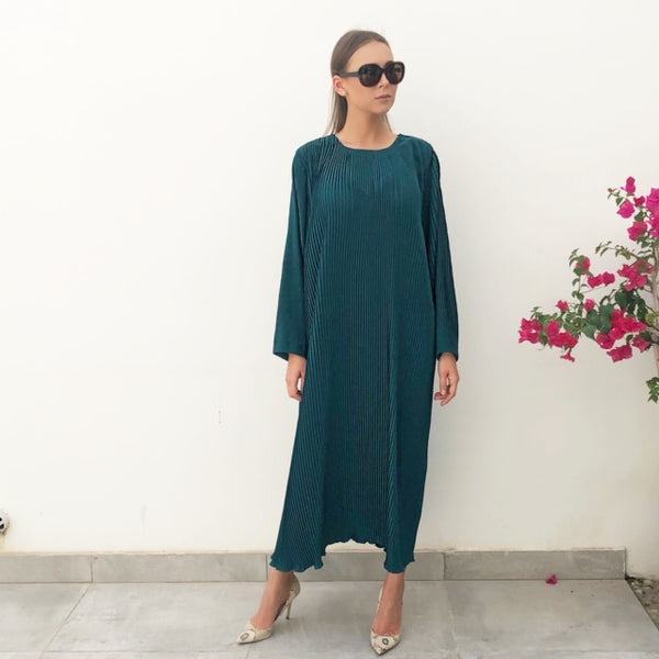 RAM19 PLEATED BOTTLE GREEN CREPE DRESS WITH LONG SLEEVES