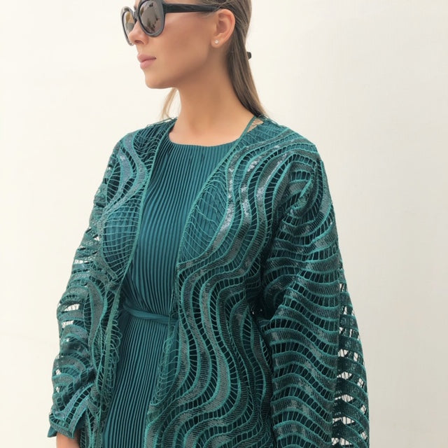 RAM19 BOTTLE GREEN LACE & SEQUINS ABAYA