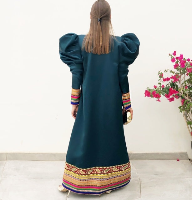 RAM19 HIND EMERALD GREEN TAFFETA EVENING ABAYA