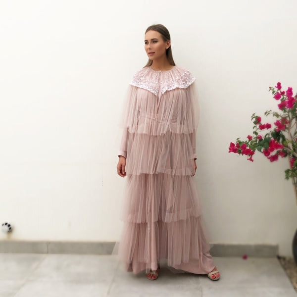 RAM19 AMNA BLUSH TULLE LAYERED ABAYA WITH SEQUINS