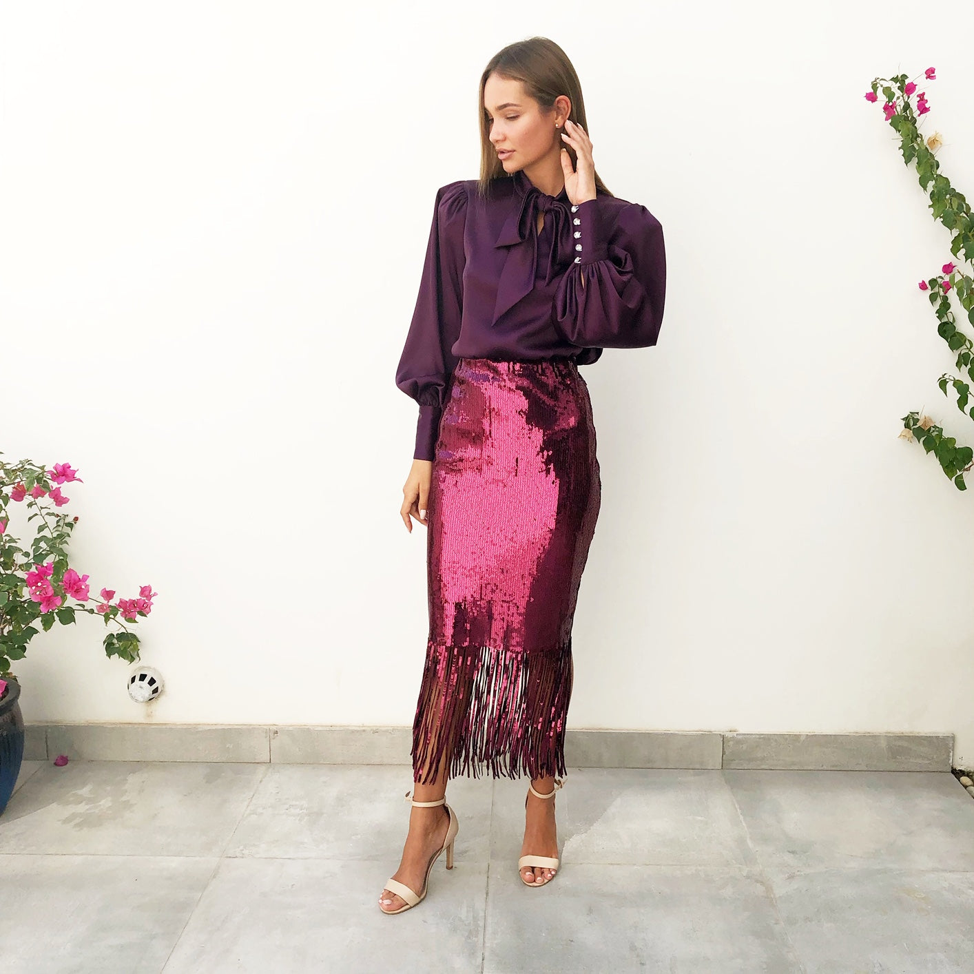 AW18 MAROON SEQUINS SKIRT WITH SEQUINS FRINGES