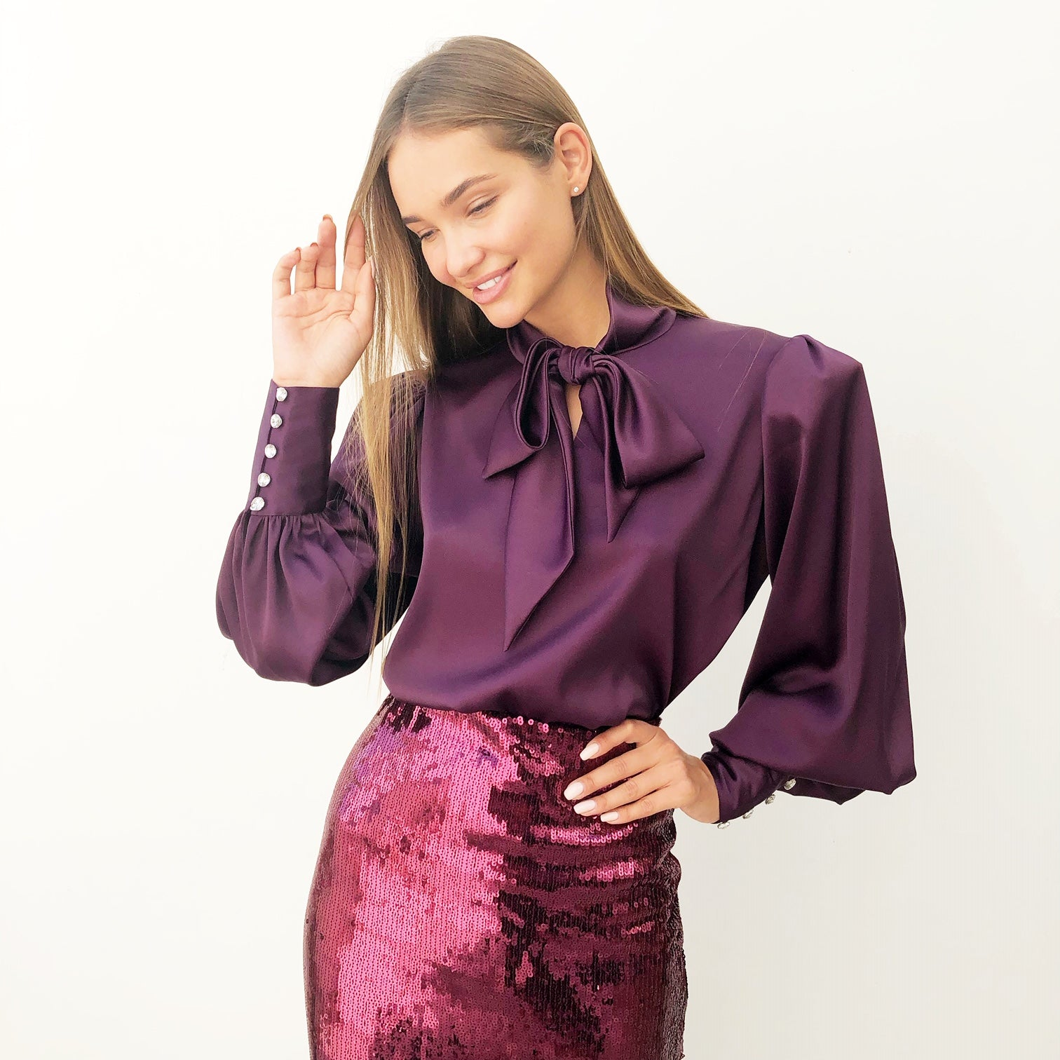 AW18 AUBERGINE SATIN FULL SLEEVE BLOUSE