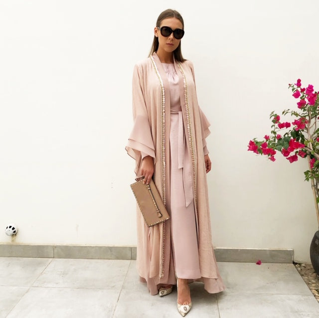 RAM19 MONA BLUSH DOUBLE LAYER ABAYA