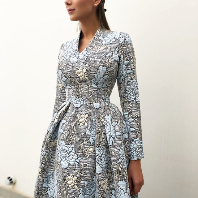 RAM19 MARIE BLUE BROCADE DRESS WITH TULLE UNDERSKIRT
