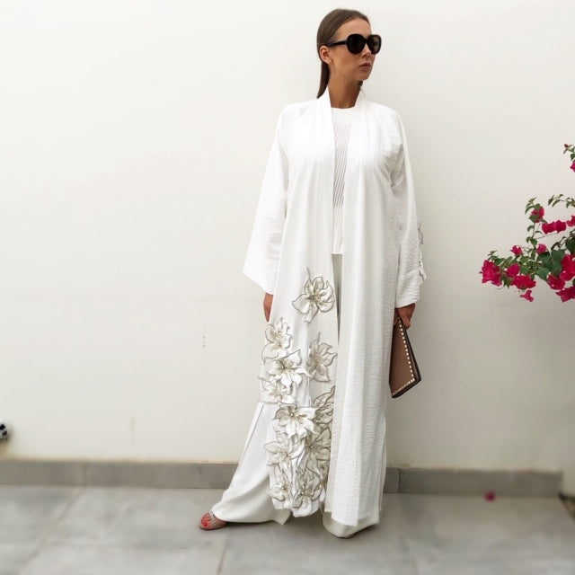 RAM19 SARAH WHITE LINEN BROCADE APPLIQUE ABAYA