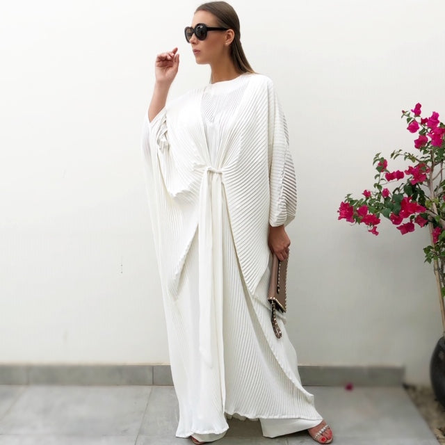 RAM19 PLEATED ROBE WITH BELT