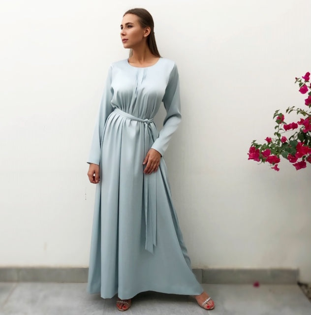 RAM19 PALE BLUE LONG SLEEVE TUNIC DRESS WITH PIN TUCKS