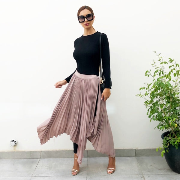 AW19 TAUPECREPE SUNRISE PLEAT WRAP SKIRT