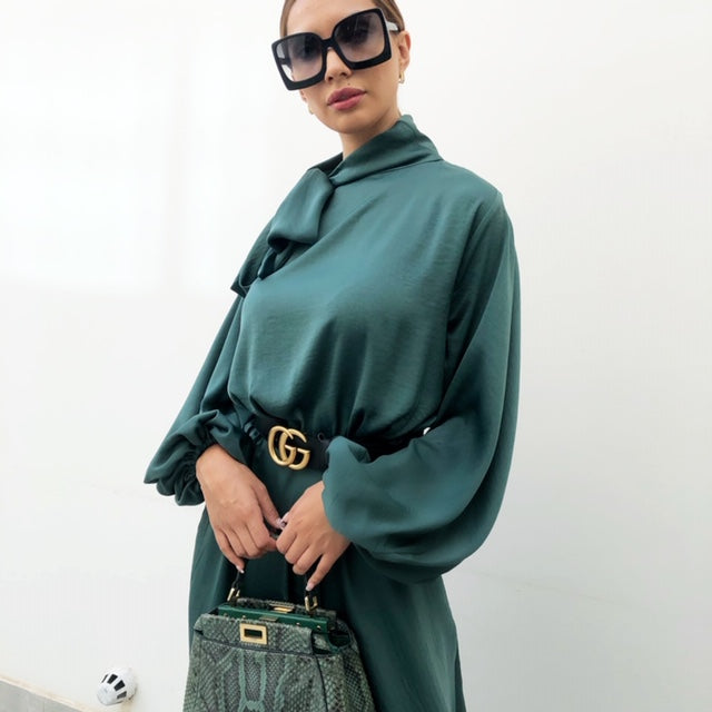 AW19 EMERALD GREEN BALLOON SLEEVE BELTED MAXI DRESS