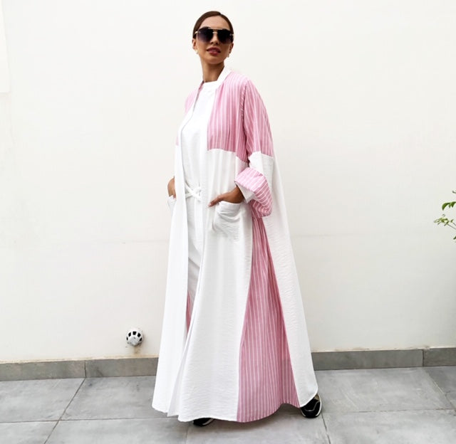 AW19 STYLISH PINK STRIPE COLOUR BLOCK LINEN ABAYA