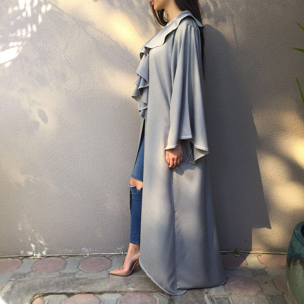 Linen Graduated Robe with ruffle collar