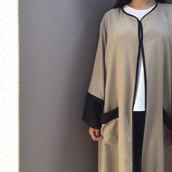 Linen Robe in colour block with pocket detailing