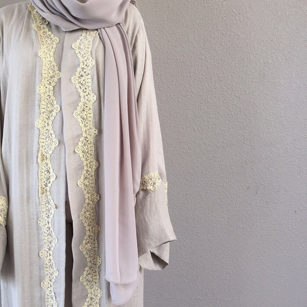 Limited Edition Beige Linen With Chantily Lace detailing