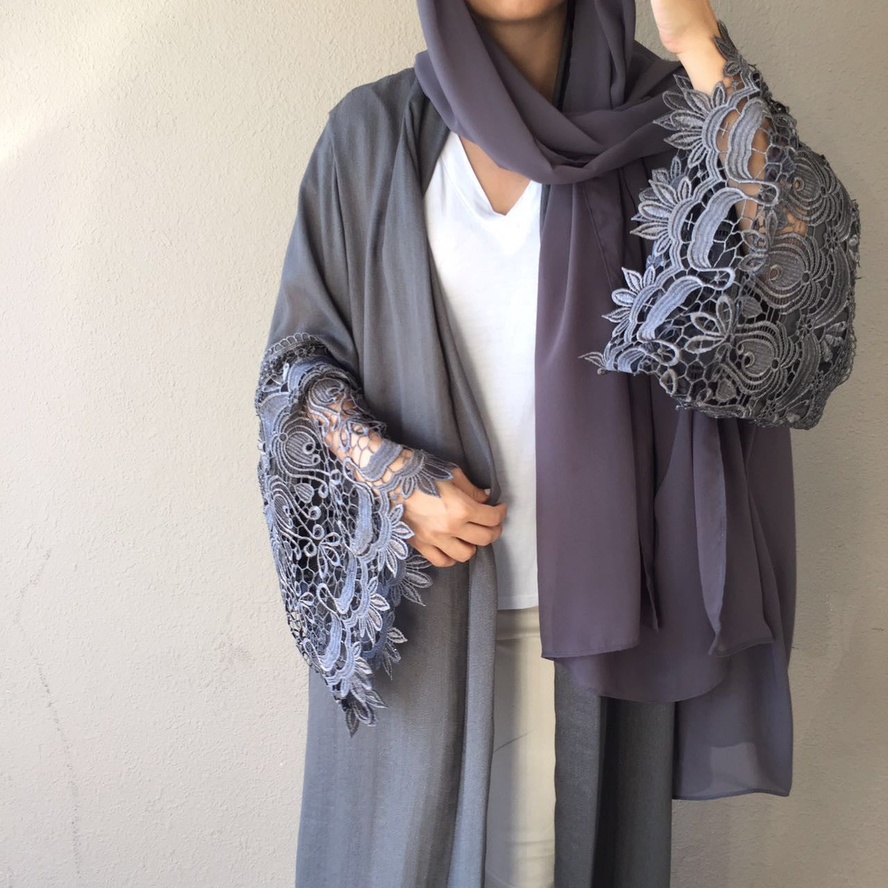 Limited Edition Shimmer linen Evening Abaya with Lace