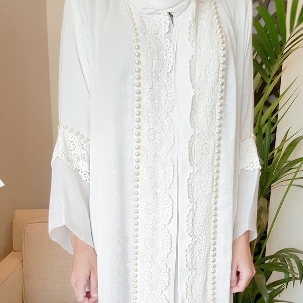Limited edition White linen abaya with French lace & pearls