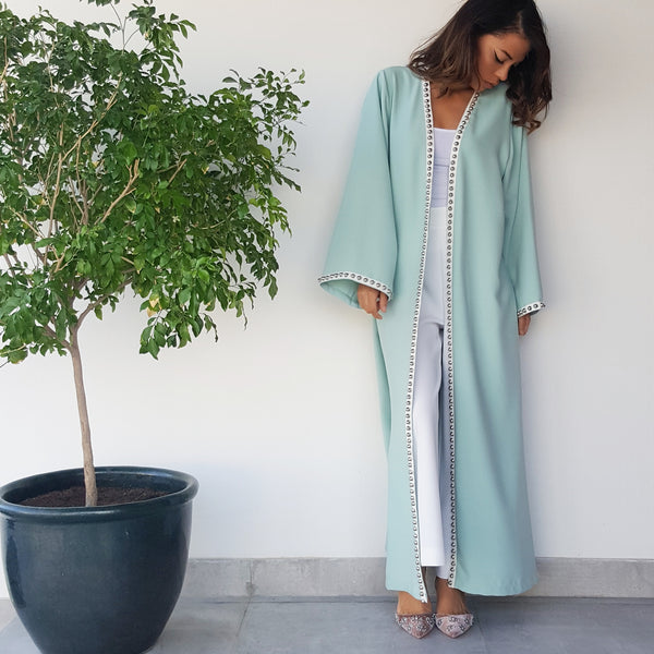 SS18 CREPE ABAYA IN TIFFANY BLUE WITH SILVER METAL STUD